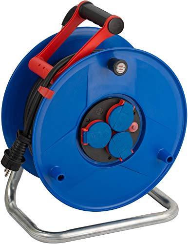 Brennenstuhl Garant IP44 Gewerbe-/Baustellen-Kabeltrommel, 40m - Spezialkunststoff (ständiger Einsatz im Außenbereich, Made in Germany) blau