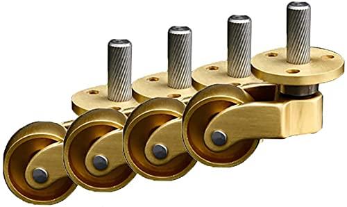 FGDFGDG Ruote per mobili da 25mm (1in), rotelle orientabili in Ottone, per Pianoforte, rotelle in Metallo Divano, capacità di carico 200KG Rotoli di mobili