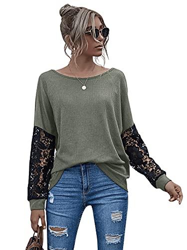 DIDK Blusa para mujer con encaje de manga larga, informal, cuello redondo, Verde básico., XL
