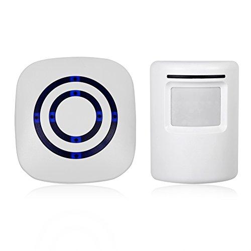 Alarm/deurbel per inductie, met bewegingsmelder, energievoorziening zonder batterij, met ontvanger en sensoren, EU-stekker (wit)