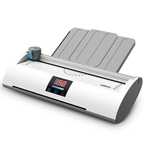6 IN 1 Laminiergerät A4 Laminierset 350 mm/min Temperaturanzeige Aufwärm-Fortschrittsbalken ABS Funktion, Schneidemaschine und Eckenrunder inkl 20 Laminierfolien, Pixseal Ⅱ Weiß