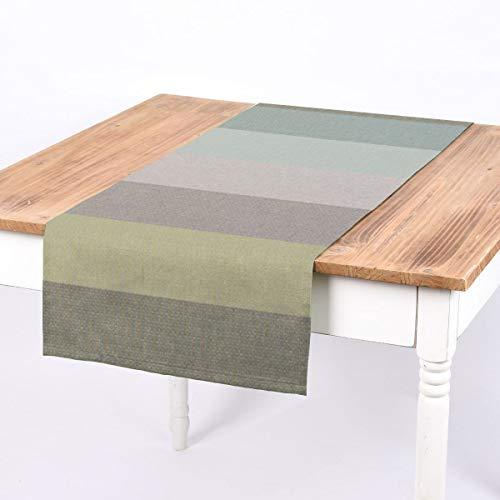 SCHÖNER LEBEN. Tischläufer Streifen 9,5cm grau Mint Petrol grün 40x160cm