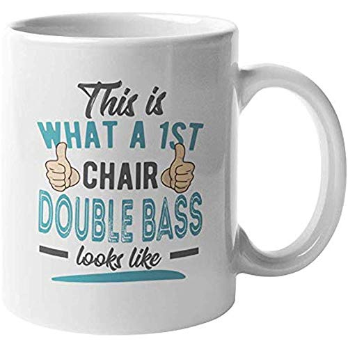 1ra Silla Contrabajo. Taza de regalo Cool Coffee & Tea para músicos de orquesta (11oz)