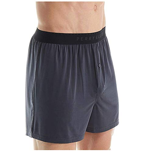 Perry Ellis Men's Luxe Solid Boxer, Ebony, X-Large