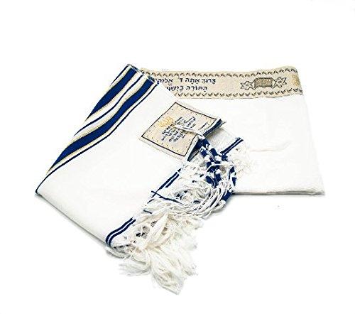 Großer messianischer Talit-Gebetsschal mit Talitbeutel, dunkelblau und goldfarben
