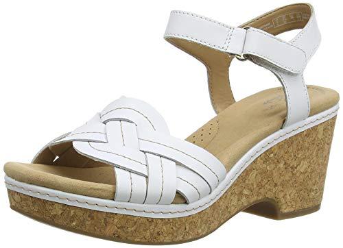 Clarks Giselle Coast, Sandalia con talón Mujer, White Leather, 37.5 EU