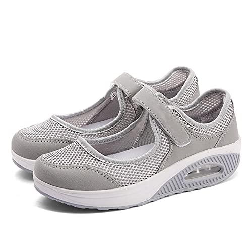 Zapatos deportivos de verano al aire libre de color puro para mujer, zapatos para caminar, con gancho de malla transpirable, con cojín de aire para gimnasio al aire libre, fitness casual