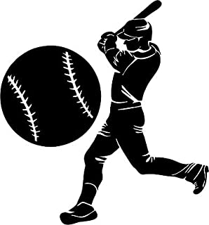 Large Silhouette Vinyl Baseball Wall Decals (Player and Ball) (Black)