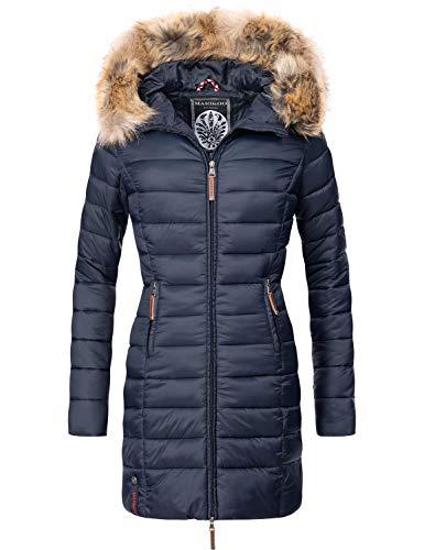 Marikoo Damen Winter-Mantel Steppmantel Rose Blau Gr. S