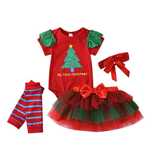 Geagodelia - Vestido de bebé de Navidad con estampado de árbol verde + falda tutú de red + calentador + banda de 4 piezas + 4 piezas para bebé rojo 6-12 meses