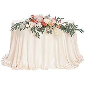 Ling's moment Artificial Flower Swag Floral Arrangement Centerpiece for Wedding Reception Sweetheart Table Decorations Tablecloth Included (Protea Sunset)