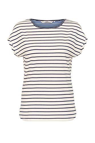 Steps Damen Dallas Tee - Bretonisches Streifen-t-Shirt - Stretch-Stoff - Rundhalsausschnitt - Kurze ärmel - Mit Lurex-Klebeband - Weiß/Blau - Größe Xs Bis XXL Snow White, xs