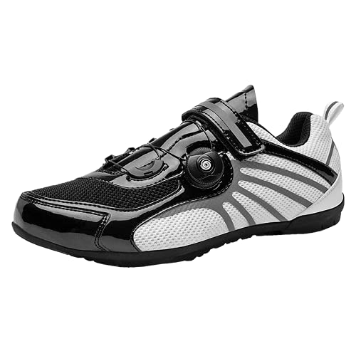 COOPCUP Ciclismo Zapatos Transpirables Zapatillas MTB para Hombres Bicicleta de Carretera Carreras Bicicleta Atlética, color Negro, talla 45 EU