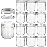 Wide Mouth Mason Jars 10 OZ, KAMOTA 10 OZ Mason Jars Canning Jars Jelly Jars With Wide Mouth Lids and Bands, Ideal for Jam, Honey, Wedding Favors, Shower Favors, Baby Foods, 12 PACK