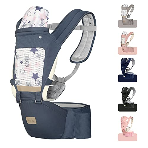 JMMD Baby Carrier with Hip Seat for Newborn & Infant & Toddler 6 in 1 Carrier with Front and Back Carry Designed Ergonomic M Position 360 Baby Soft Carrier Meet Outdoor Traveling All Season Griland