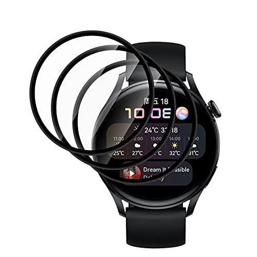 QULLOO für Huawei Watch 3 Schutzfolie,[3 Stücke] 3D Vollständige Abdeckung TPU Weich Schutz Folie Anti-Kratzer Bildschirmschutz Bläschenfrei Bildschirmschutzfolie