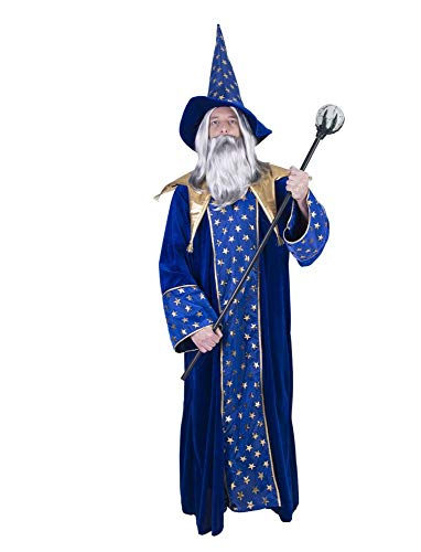 Zauberer Isior Magier Kostüm für Herren - Blau Gold - Hexer Robe und Hut für Mottoparty und Fasching
