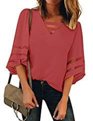 "Size Small fits bust 33-35"", Medium fits bust 35-37"", Large fits bust 38-40"", X-Large fits bust 41-43"", XX-Large fits bust 44-46"". Women's casual shirt top comes with V neck and bell sleeves design, embellished with mesh panel detailing. Summer flowy..."