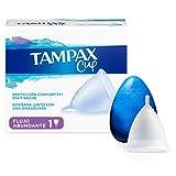 Tampax Copa Menstrual Flujo Abundante, Protección Comfort-Fit Día y Noche, Fabricada 100% con Silicona Médica, Testada Clínicamente, Fácil de limpiar, Reutilizable, Incluye Funda de Transporte