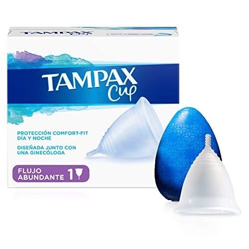 Tampax Copa Menstrual Flujo Abundante, Protección Comfort-Fit Día y Noche, Fabricada 100% con Silicona Médica, Testada Clínicamente, Fácil de limpiar, Reutilizable, Incluye Funda de Transporte ✅