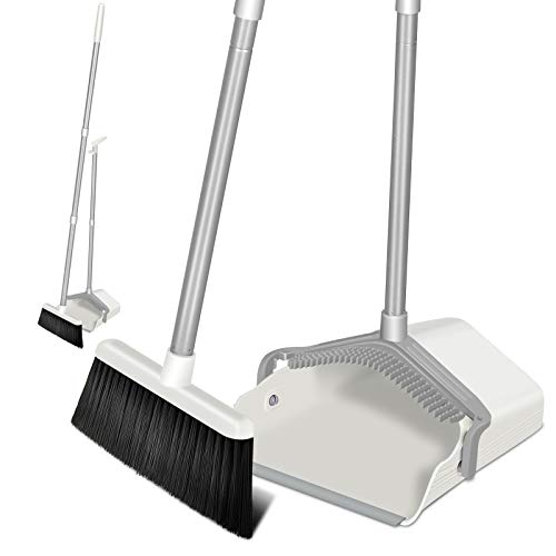 "IKER Broom and Dustpan Set with 51.5"" Adjustable Long Handle and Dustpan Teeth, Upright Dust Pan and Broom for Home Kitchen Office Cleaning (Gray & White)"