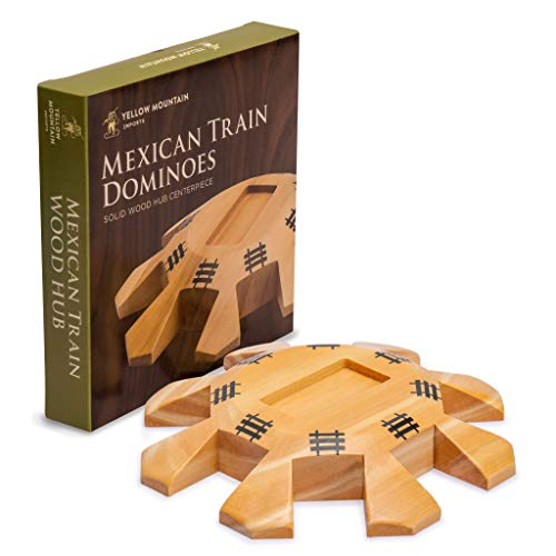 Yellow Mountain Imports Wooden Hub Centerpiece for Mexican Train Dominoes - 5.8 Inches