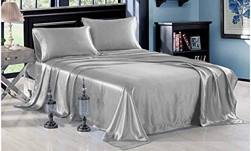 Dhruvi Bedding Silk Satin Sheets Set | Silk Satin Sheets Set Cal-King | Cal-King Sheets Set Silver Grey | Silk Fitted Sheet 24 Inch Deep Pocket | 4 Pc Sheet Set | Silk Flat Sheet & Pillowcases Set.