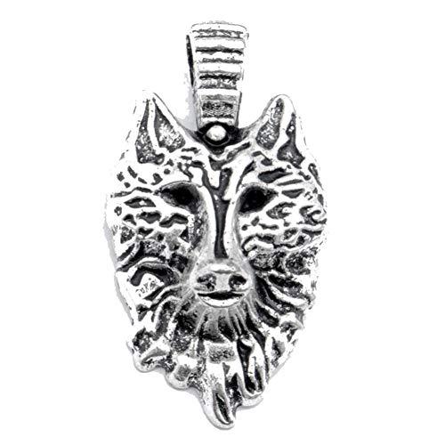 Colgante de cara de lobo de 1,25 pulgadas de largo aspecto exótico chapado en plata joyería...