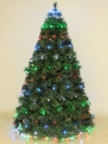 Mantello 288 luci per albero di Natale a led multicolore h 3,2 mt con 8 giochi per esterno e interno serie rete verde luminarie