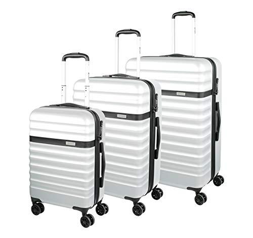 Bugatti Corium Kofferset (S, M & L) - 4 Rollen Koffer Trolley - 3er Reisekoffer Set mit TSA Zahlenschloss, Silber