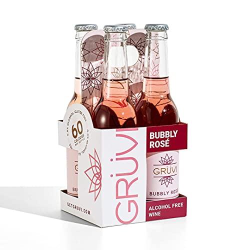 Gruvi Non-Alcoholic Bubbly Rose, 4 Bottles, 0% ABV, Non Alcoholic Sparkling Wine, Zero Alcohol Wine,