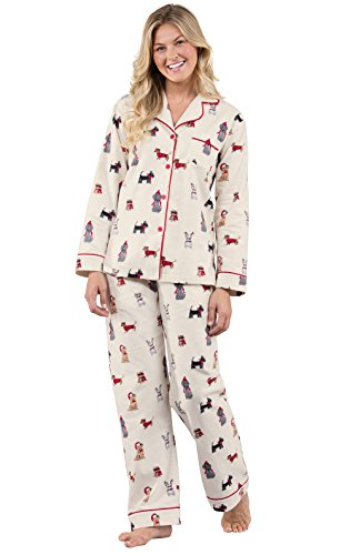PajamaGram Flannel PJs for Women - Womens Pajamas Dog, Cream, L
