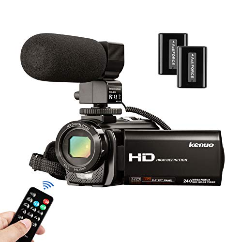 Video Camera Camcorder with Microphone, FHD 1080P 30FPS 24MP...
