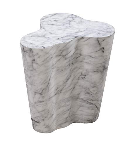"TOV Furniture Modern Slab Living Room Short Side Table, 18"", 18 Inch Tall, White Marble"