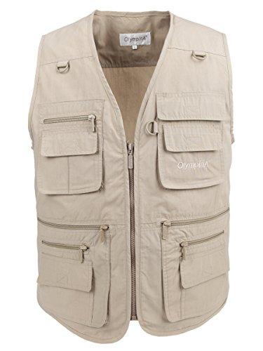 LUSI MADAM Men's Poplin Outdoors Travel Sports Multi-Pockets Work Fishing Vest 2X-Large Khaki