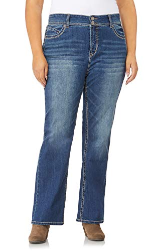 WallFlower Plus Size Luscious Curvy Basic Bootcut Jeans in Katy Size:16 Plus Short