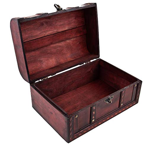 Schatztruhe Caribe – Kiste mit Schloss und Schlüssel – Holztruhe, Schatzkiste 28x19x15cm groß – Ideal als Geschenkebox für z.B. Hochzeit und Geburtstag - 2