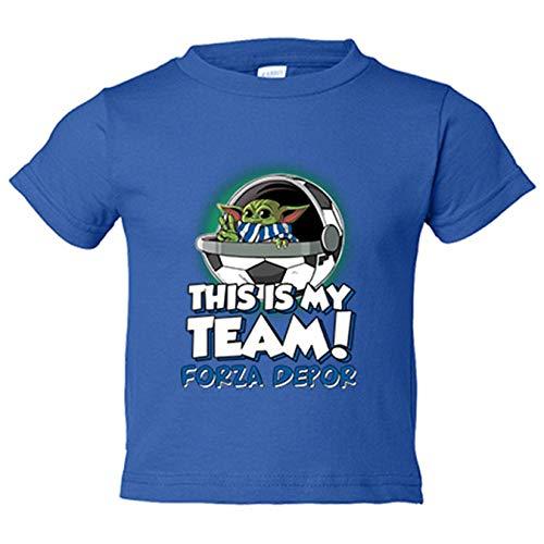 Camiseta niño parodia baby Yoda mi equipo de fútbol Forza Depor - Azul Royal, 7-8 años