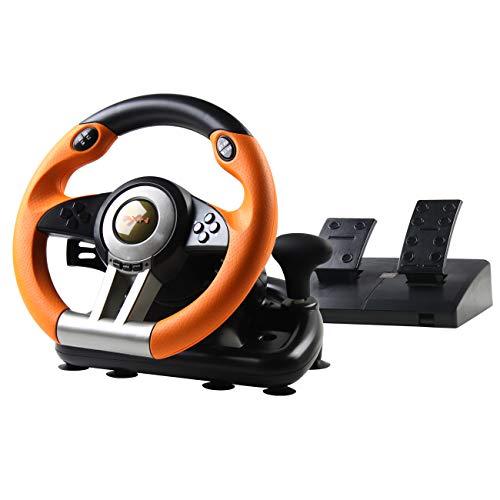 PXN V3II Rennlenkrad Gaming mit Pedalen Einstellbaren, 180 ° Universal USB Gaming Lenkrad für PC, PS3, PS4, Xbox One, Nintendo Switch - Orange