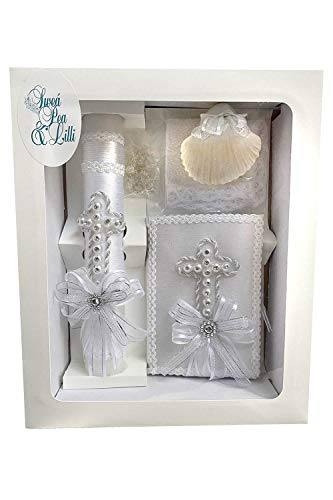 SWEA Pea & Lilli White Pearl Cross Baptism Candle Set Kit for Christenings with Shell and Favors