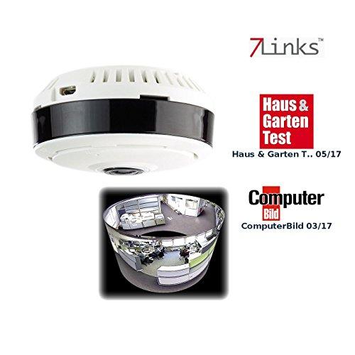 7links WLAN Camera: IP-Panorama-Überwachungskamera für 360°-Rundumsicht & Nachtsicht, 960p (360 Grad Überwachungskamera)