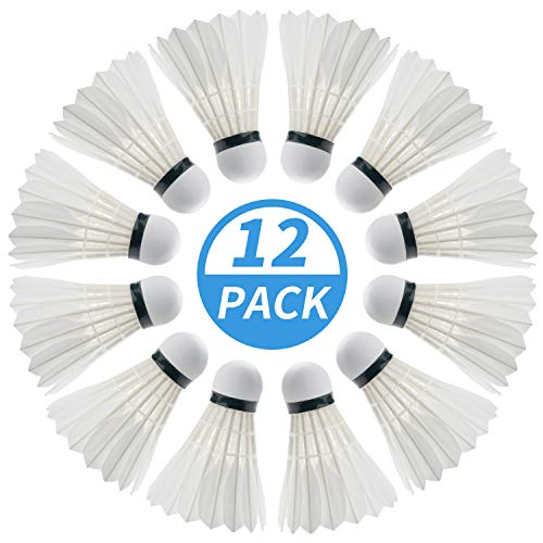 PHYOPUS Badminton Birdie, 12 Pack Duck Feather Badminton Shuttlecocks with Great Stability & Durability, High Speed Sports Training Badminton Balls for Indoor Outdoor Game