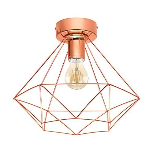 EGLO Deckenlampe Tarbes, 1 flammige Vintage Deckenleuchte im Retro Look, Material: Stahl, Farbe: Kupfer, Fassung: E27