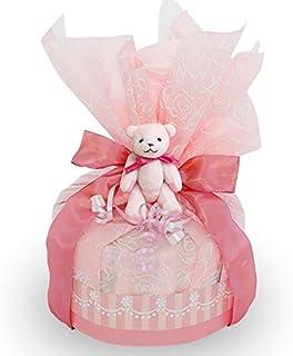 出産お祝いに!【くまのおむつケーキ】おむつケーキ 豪華 可愛い ストロベリー ピンク 赤ちゃんへの内祝い 可愛いオリジナルメッセージカード付き! 好きな文章を印刷してお贈りします! パンパースMサイズ 日本製 テディベアのキーホルダー付き 女の子 男の子 ダイパーケーキ (1段)