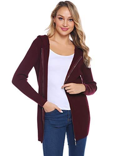 Abollria Damen Strickjacke mit Reißverschluss Lang Gerippter Cardigan Casual Zip Jacke mit Kapuze,Weinrot,XL