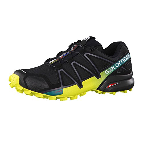 SALOMON Speedcross 4, Zapatillas de Trail Running Hombre, Negro (Black/Everglade/Sulphur Spring), 42 2/3 EU