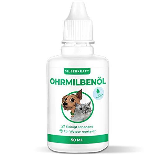 Silberkraft Ohrmilbenöl 50 ml für Hunde, Katzen und andere Haustiere, wirksames Pflege-Mittel gegen Ohrmilben, Ohrräude, Juckreiz, Hefepilz und Entzündungen am Ohr, sanfte und schonende Reinigung