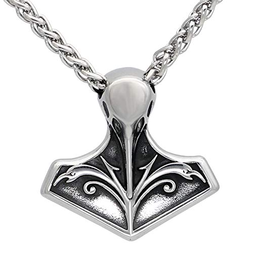 NC520 Hombres de Acero Inoxidable nórdico Vikingo Thor s Martillo Cuervo Amuleto Mjolnir Colgante Collar con Bolsa vikinga