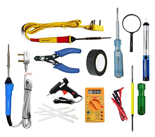 FADMAN Soldering Iron 25 W Simple - 2 | Cutter | Tape | Tester | Magnifying Glass | Desolder Pump | ScrewDriver | Multimeter | 20 W Black Glue Gun & 5 Sticks (7mm) | (Yellow+Red) (Blue+Grey)