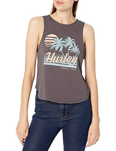Hurley W Domingo Flouncy Tank Camiseta De Tirantes, Mujer, Thunder Grey, S
